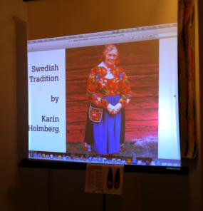 Karin Holmberg presents slides via livestream
