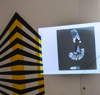Camille Walala and Marie O'Connor works at Slow Textiles Group event